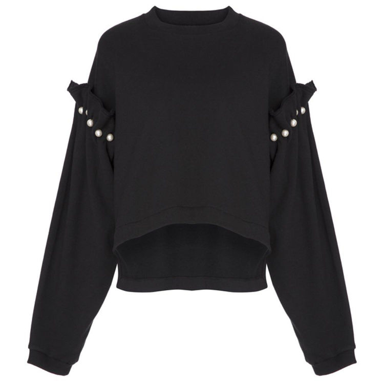 sweatshirt with pearl shoulder