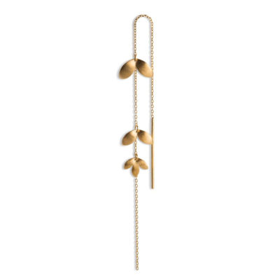 Chain earring 3 leaves guld