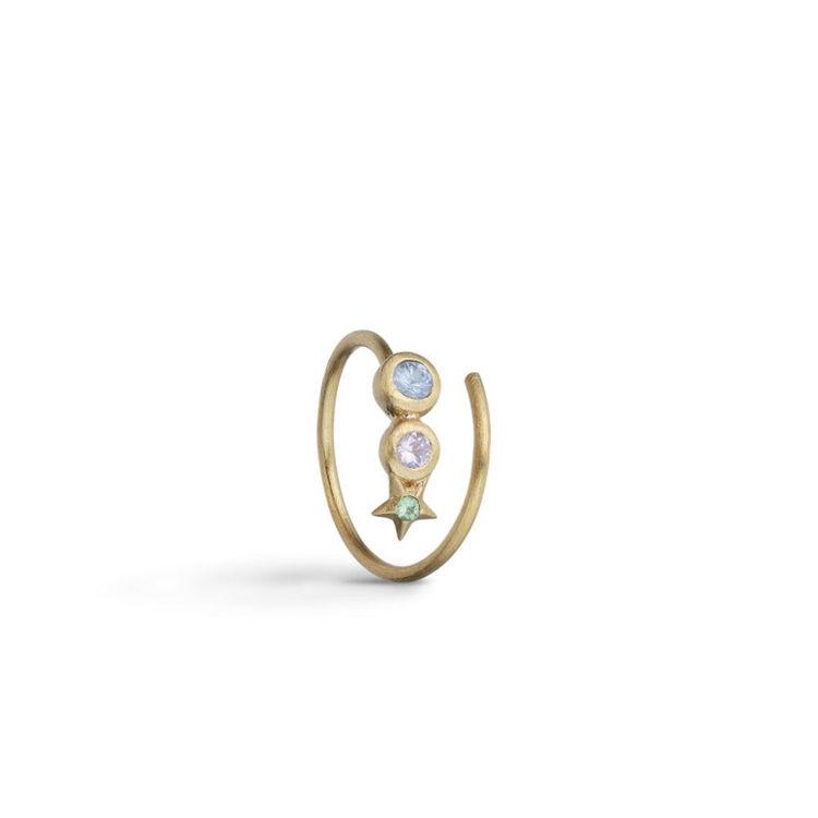 Star spiral earring gold